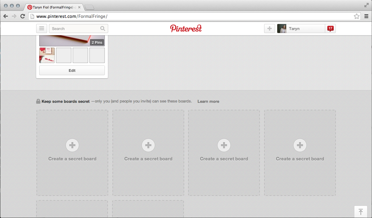 Create a Secret Board on Pinterest